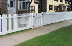 straight picket vinyl fence